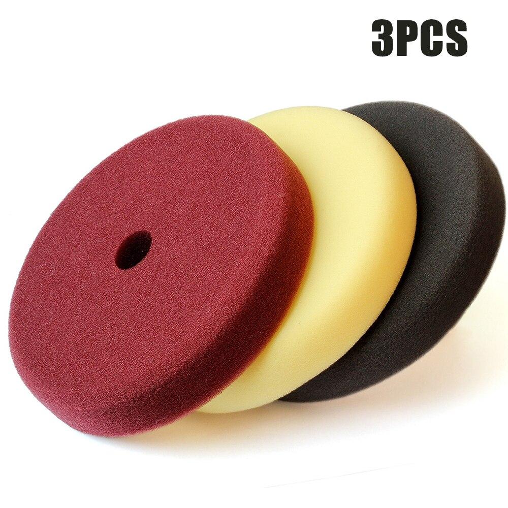3 uds 7 pulgadas 180mm esponja almohadillas de espuma para pulir Set hilo Auto encerado Kit de almohadillas de pulido para pulidor de coche accesorios de herramientas eléctricas