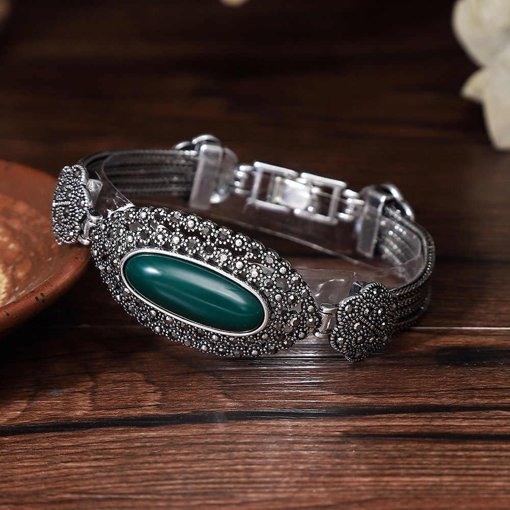 Oval natural pedra vermelha real 925 prata esterlina pulseira de cristal preto flor do vintage thai prata pulseiras jóias para mulher