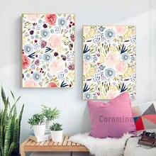 Картина на холсте с акварелью и цветами настенный постер розовыми