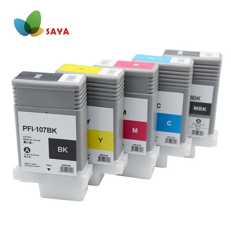 PFI-107 PFI107 PFI 107 130ML Cartouche Dencre Compatible Avec Encre Pour Canon IPF-670 IPF-680 IPF-685 IPF-770 IPF-780 5 Couleurs