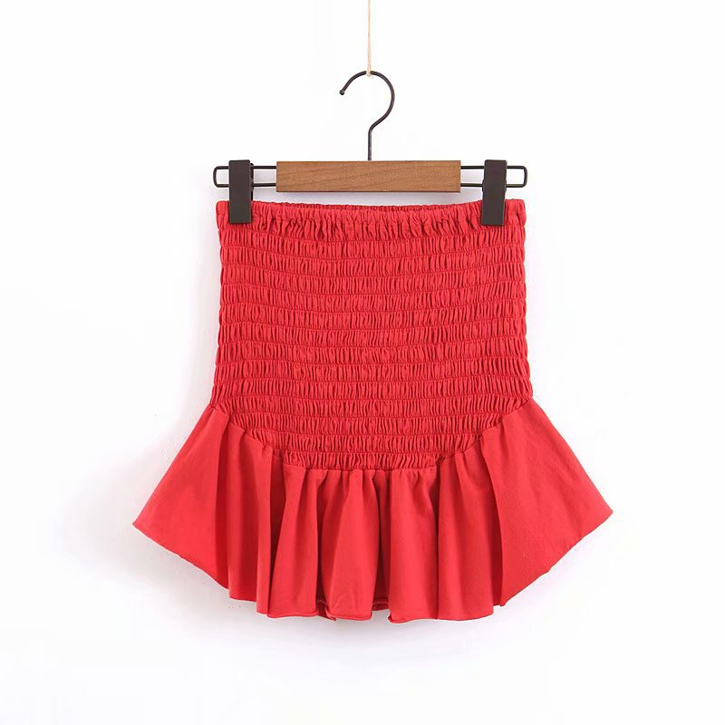 9063-2019 Spring New Style Western Style WOMEN'S Dress Double Purpose Elastic Red Tube Top Tops Or Elastic Skirt