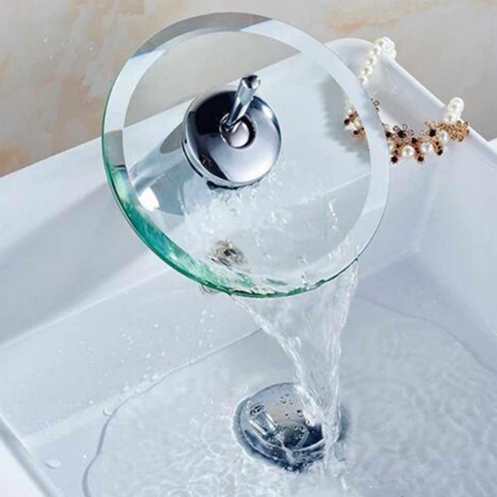 حنفية مياه للمطبخ والحمامات متينة وباردة ساخنة دوارة من الفولاذ المقاوم للصدأ سهلة التركيب حنفية بالوعة عملية شلال زجاجي منزلي
