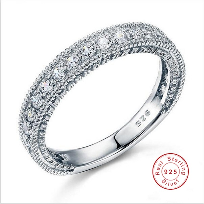 Solid Sterling 925 Silver Wedding Band Eternity Ring Jewelry Wholesale Vintage Style Women Rings Simulated Diamond Platinum