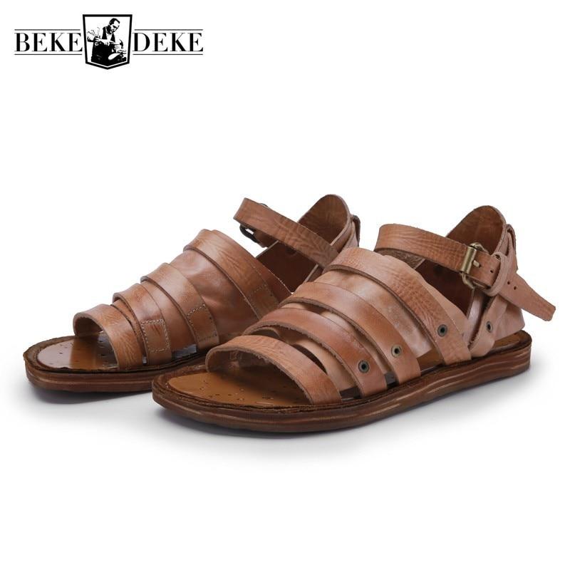 Handmade 100% Real Leather Sandals Men Summer British Retro Flat Gladiator Sandals Lovers Open Toe Beach Buckle Strap Sandals
