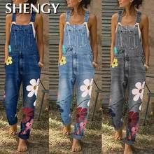 2020 комбинезон комбинезоны с цветочным принтом синие джинсы комбинезон для женщин Модный джинсовый комбинезон сексуальный длинный комбине...