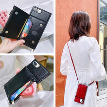 Fashion Crossbody Strap Leather Zipper Wallet Phone Case for iPhone 12 11 SE 2020 XR X XS Max 6 7 8 Plus Card Stand Holder Cover
