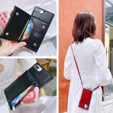 جراب هاتف بحزام كتف ، محفظة جلدية عصرية مع سحاب ، لهاتف iPhone 12 11 SE 2020 XR X XS Max 6 7 8 Plus