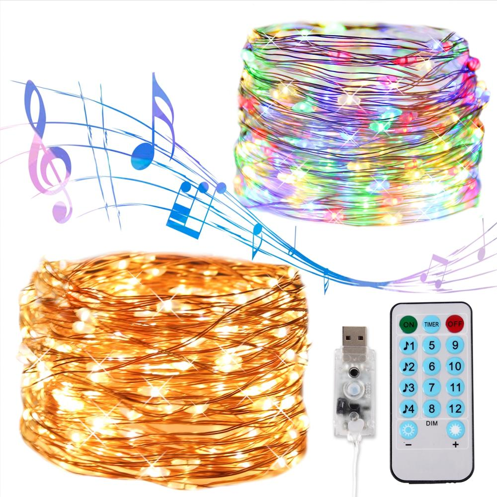 QIFU USB sonido activado LED música cadena guirnalda de luz decoración de boda fiesta de Navidad despedida de soltera suministros de desmaleza Ins 3,5 M 220V LED de Luna lámpara de estrella guirnalda de Navidad guirnalda luces de hadas cortina luz para fiesta Bar boda vacaciones Decoración