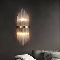 New modern crystal copper wall lamp bedroom bedside lamp living room wall lamp creative crystal aisle lighting