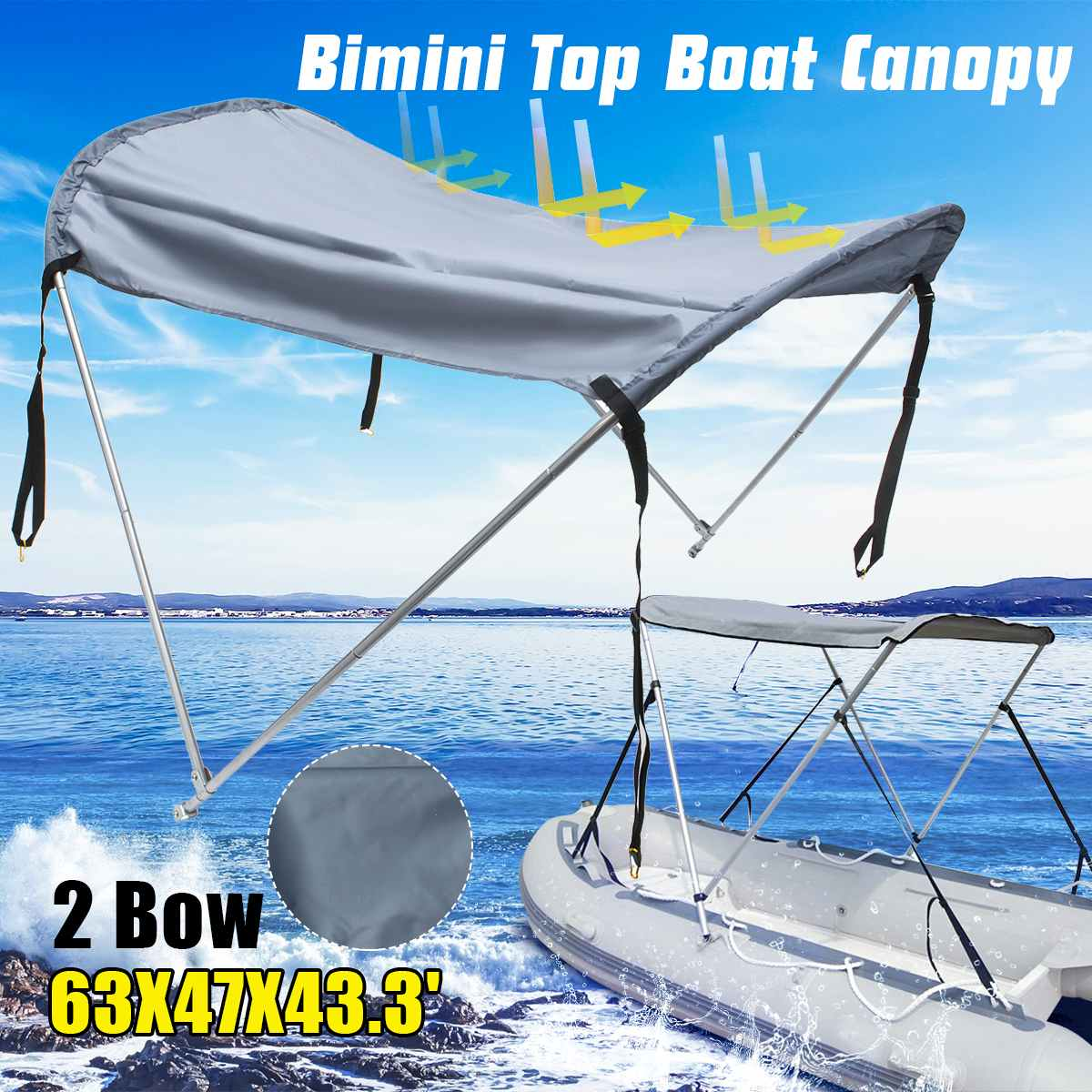 Waterproof <font><b>Boat</b></font> <font><b>Bimini</b></font> <font><b>Top</b></font> Folding Canopy Aluminium Alloy Rear Ship UV Tent Sunshade image