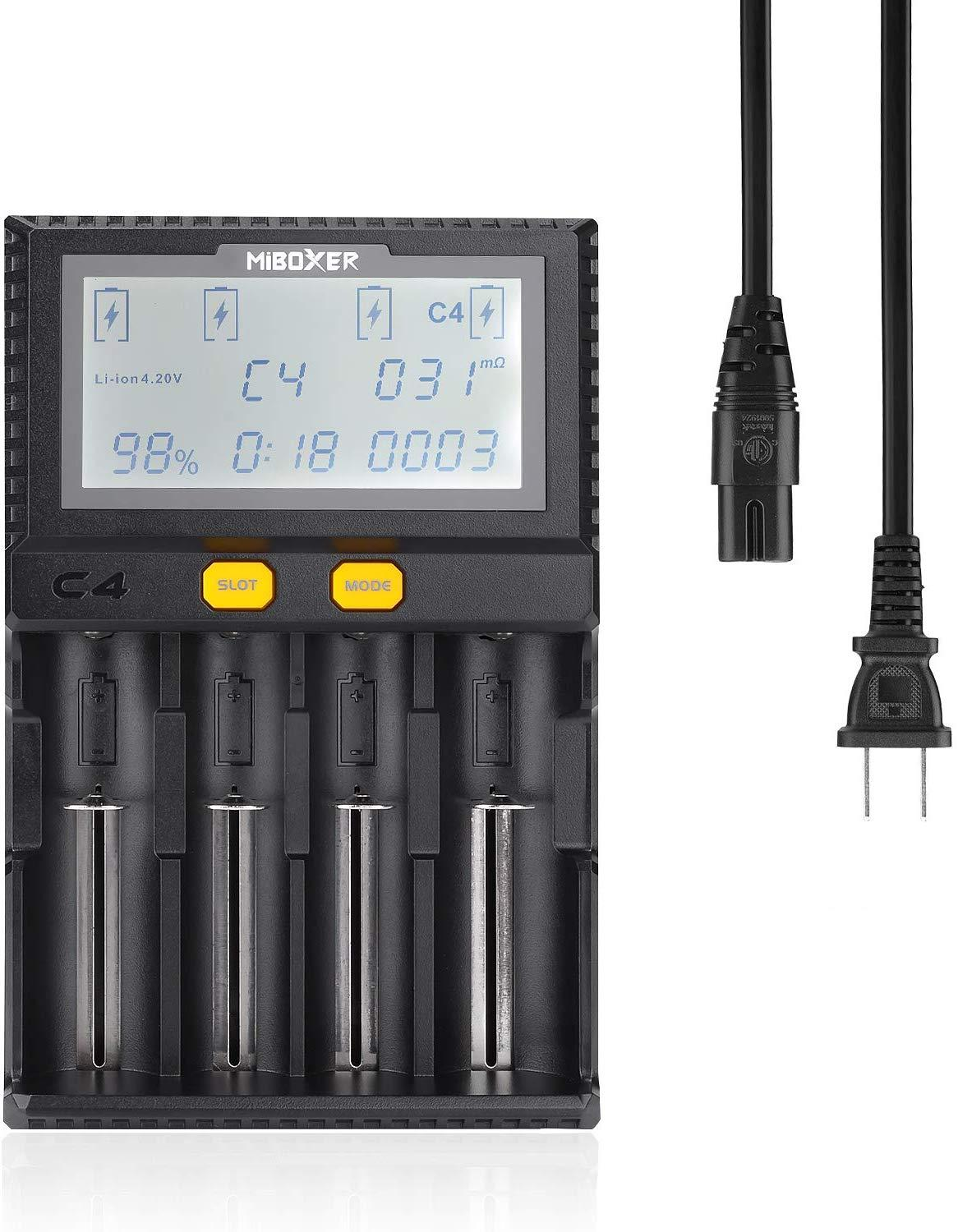 Miboxer C4  LCD Smart Battery Charger For Li-ion IMR ICR LiFePO4 18650 14500 26650 21700 AAA Batteries 100-800mAh 1.5A Discharge