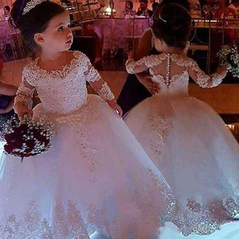 Cute Jewel Neck Flower Girls Dresses Long Sleeve Back Cover Button Puffy Tulle Lace Communion Dresses Girls Birthday Gowns