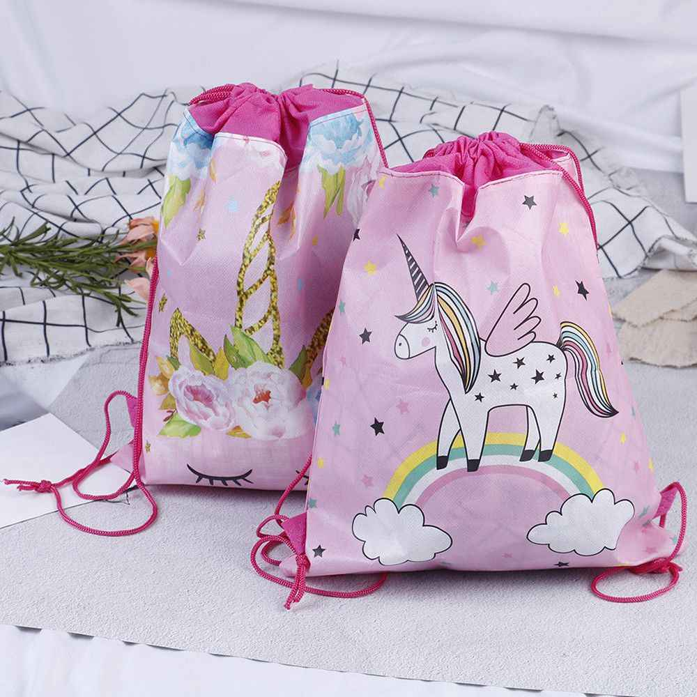 Hot Sale Unicorn Drawstring bag for Girls Travel Storage Package Cartoon School Backpacks Children Birthday Party Favors