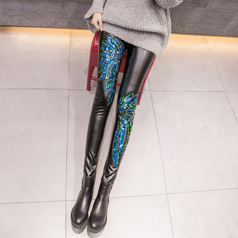 Beauty Luo Shi Winter Thick Photo Shoot Korean-style Sequin Embroidered Plus Velvet PU Leather Pants You Guess Tight-Fit Skinny