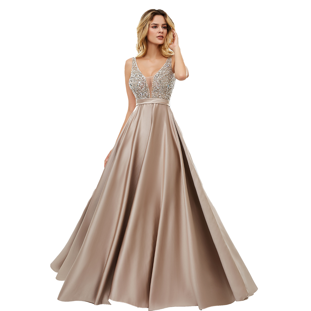 BEPEITHY Long   Evening     Dress   V-neck Beading Bodice Sexy Prom Gowns With Backless 2019 Fast Shipping