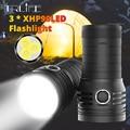 10400mAH Ultra Leistungsstarke 3 * XHP90 FÜHRTE Taschenlampe Suchscheinwerfer Quad Core Eingebaute 18650 Batterie USB Wasserdichte T6 Camping Licht-in LED-Taschenlampen aus Licht & Beleuchtung bei
