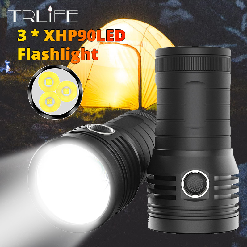 10400mAH Ultra Powerful 3 XHP90 LED Searchlight Flashlight Quad Core Built-in 18650 Battery USB Waterproof T6 Camping Light