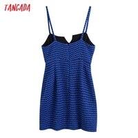 Tangada Women Spaghetti Strap Blue Texture Tweed Slim Mini Dress Female Chic Back Zipper Hem Split Party Dress BE63 6