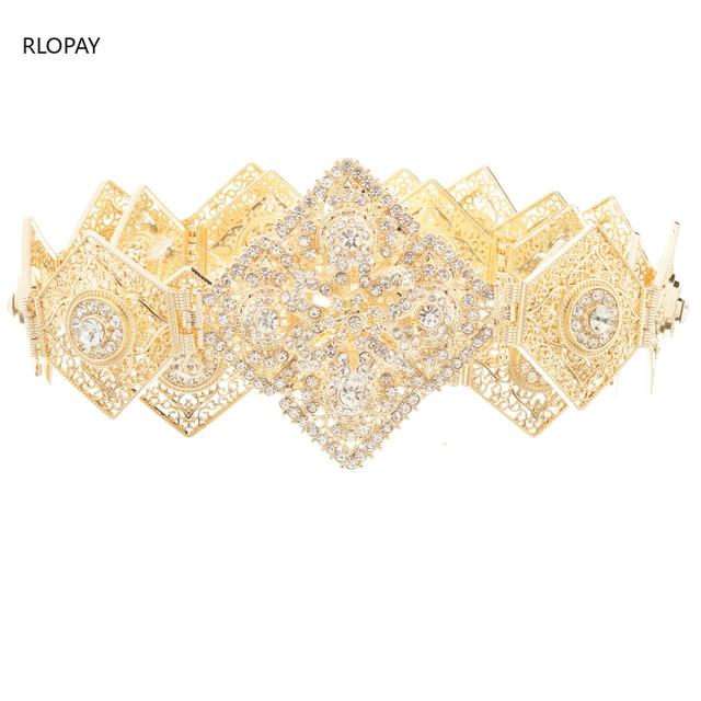 RLOPAY New Moroccan Fashion Kaftan Belts Crystal Grown Belts for Women Arabic Gold Waist Chain