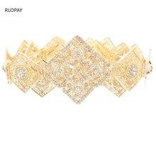 Rlopay新モロッコファッションカフタンベルトクリスタル栽培ベルト女性のためのアラビア語のゴールドウエストチェーン
