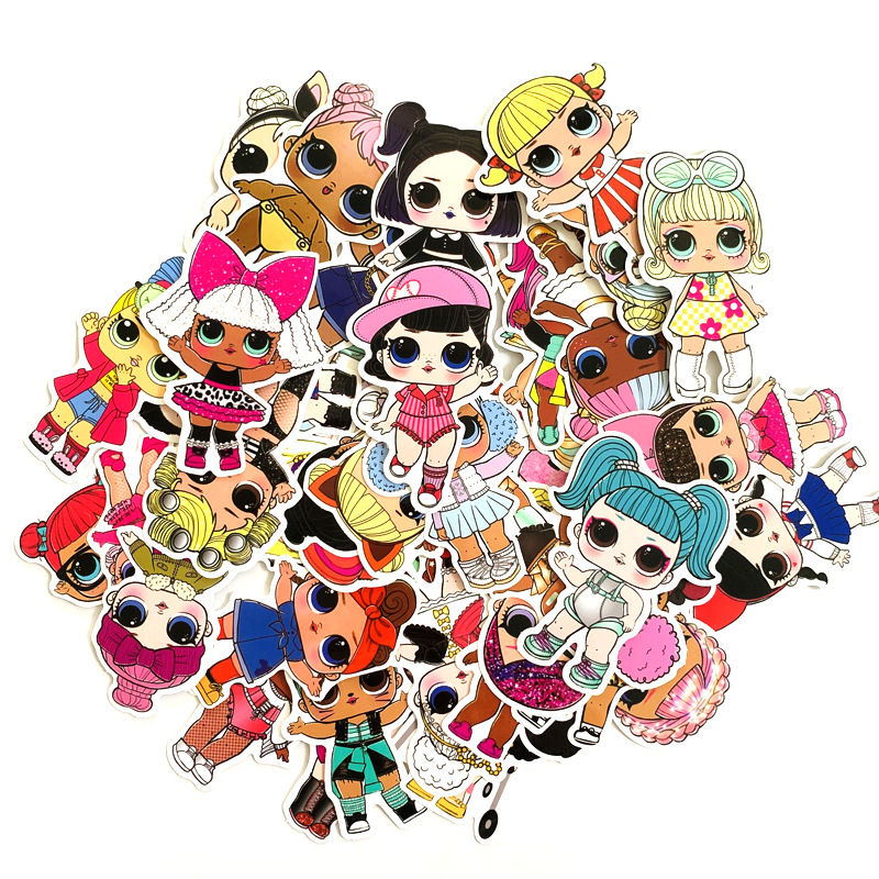 50pcs LOL Stickers 2020  Waterproof Personality Lol Doll Stickers Children's PVC Graffiti Stickers Suitcase Car Boot Guitar