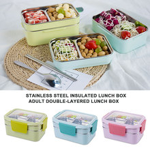 Double-Layer Thermal Lunch Box 304 Stainless Steel School Students Camping Heating Portable Cutlery Travel Insulation
