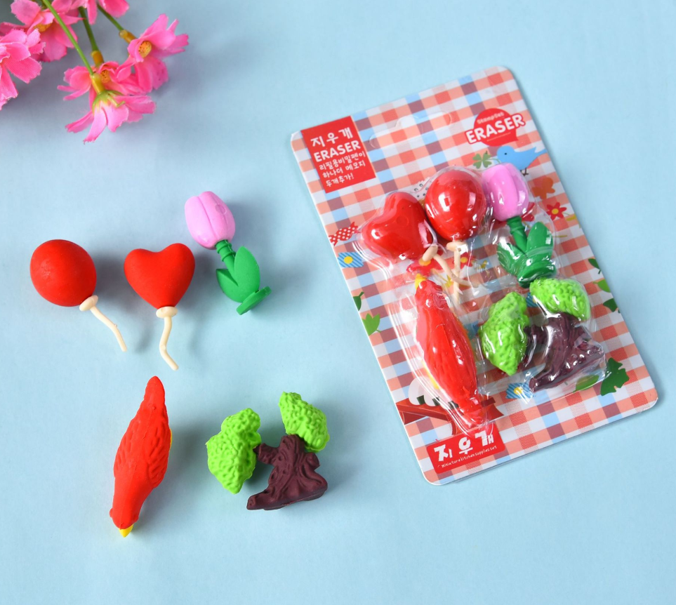 Eraser Set TPR Rubber Cute Bird Love Balloon Green Plant Flowers Pencil Erasers Stationery For Kids Gifts School Supplies Prize