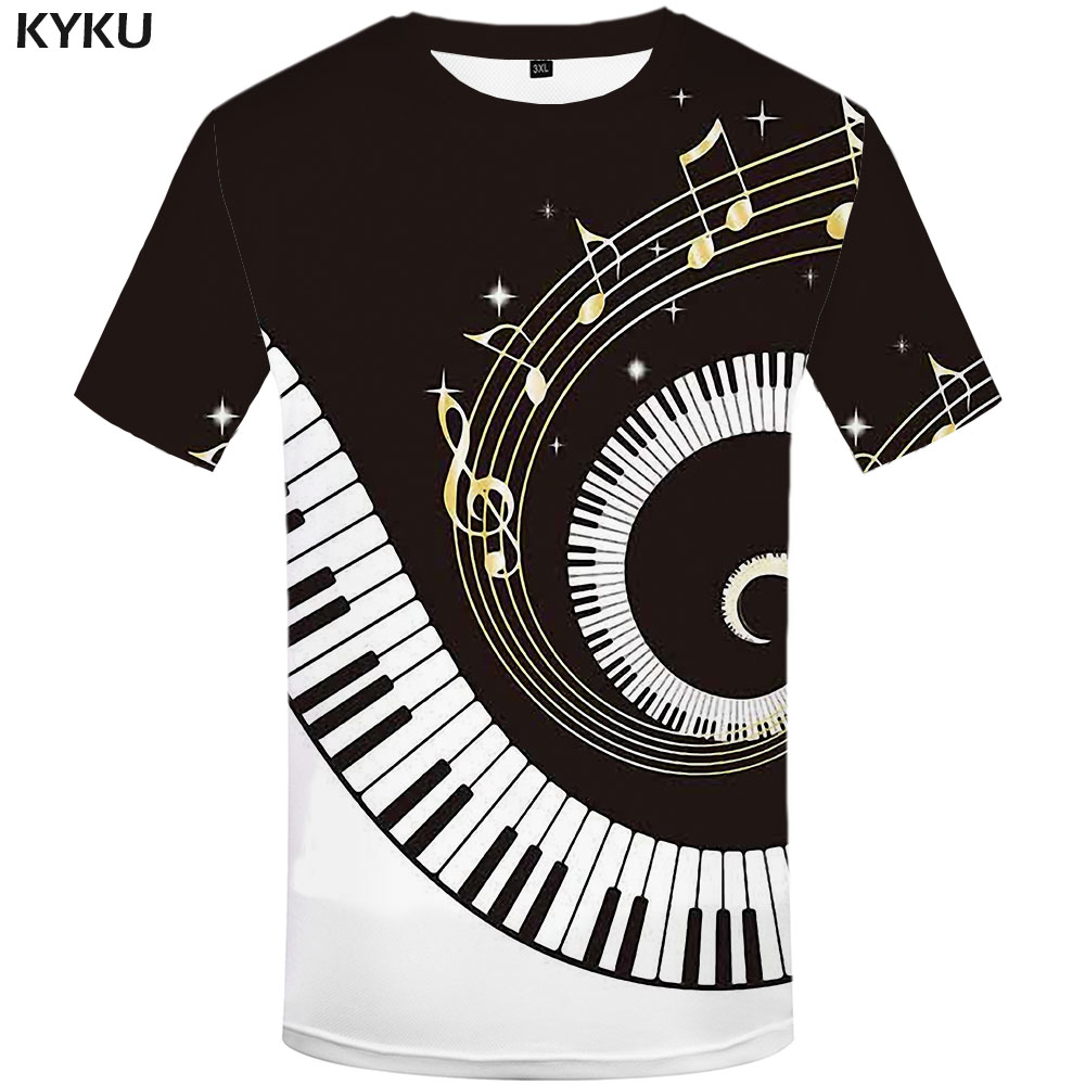 KYKU Brand Music T Shirt Men Geometric T-shirts 3d Black And White Tshirt Printed Harajuku Shirt Print Novel Anime Clothes