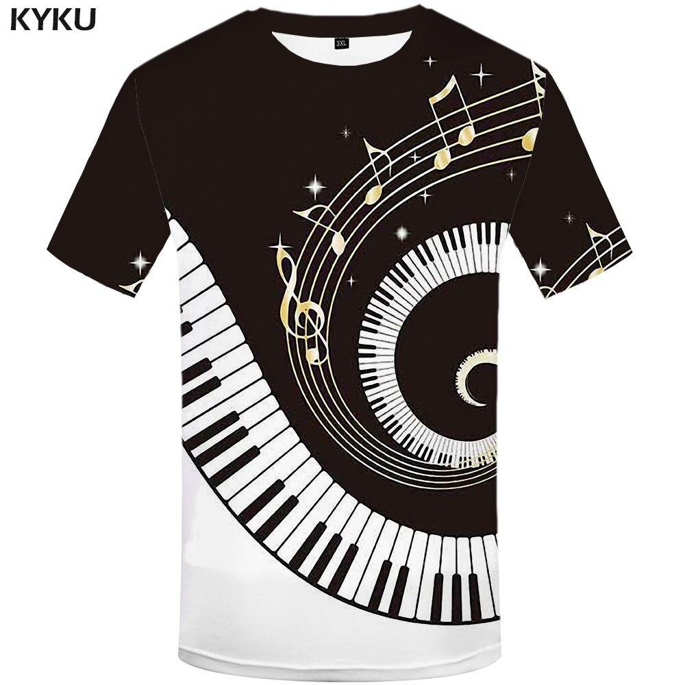 KYKU Brand Music T Shirt Men Geometric T-shirts 3d Black And White Tshirt Printed Harajuku Shirt Print Novel Anime Clothes