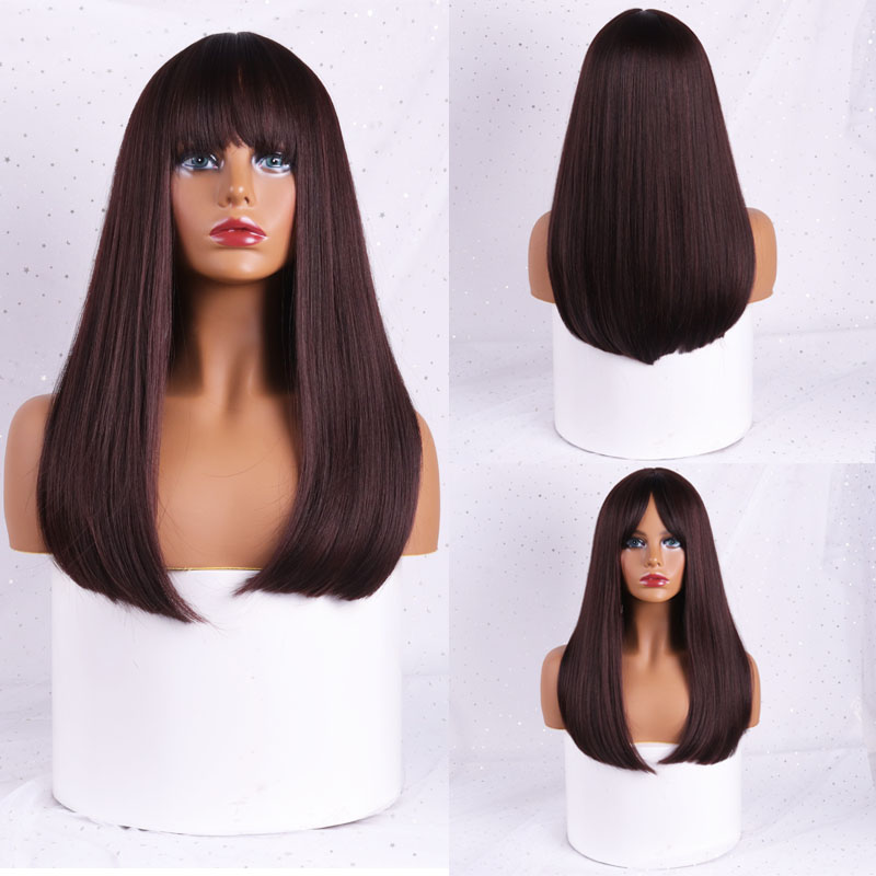 MISS WIG Wavy Wigs Black Brown Blonde Middle Part Cosplay Synthetic Wigs With Bangs For Women Long Hair Wigs Fake Hair