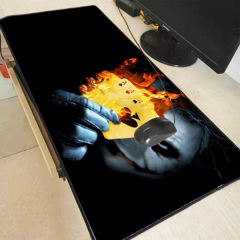 XGZ Funny Jack Poker with Fire Large Mouse Pad Gamer Locking Edge Keyboard Mouse Mat Gaming Desk Mousepad for CS GO LOL Dota
