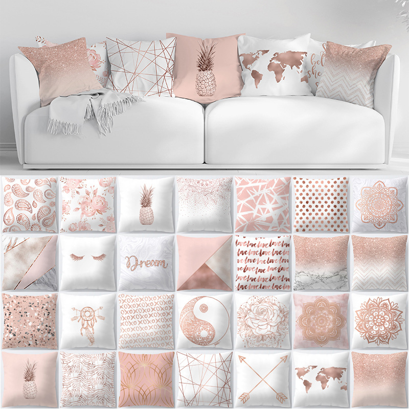 Rose Gold Pillowcase Decorative Pillows Cushion Cover 45X45 Polyester Nordic Pink Pillow Covers Home Decor Pillow Cases 10470