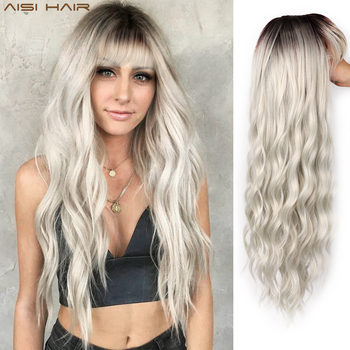 AISI HAIR Long Wavy Wig with Bangs for Women Synthetic Natural Black Color Wig for Daily Use Party Wig Natural Looking