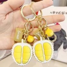 2020 Cute Cartoon PVC Durian Keychain Fashion Creative Simulation Fruit key chains Women Car Bag Pendant Gift Key Ring creative simulation lobster key chains pendant popular key ring ornament cute gifts ls1908052