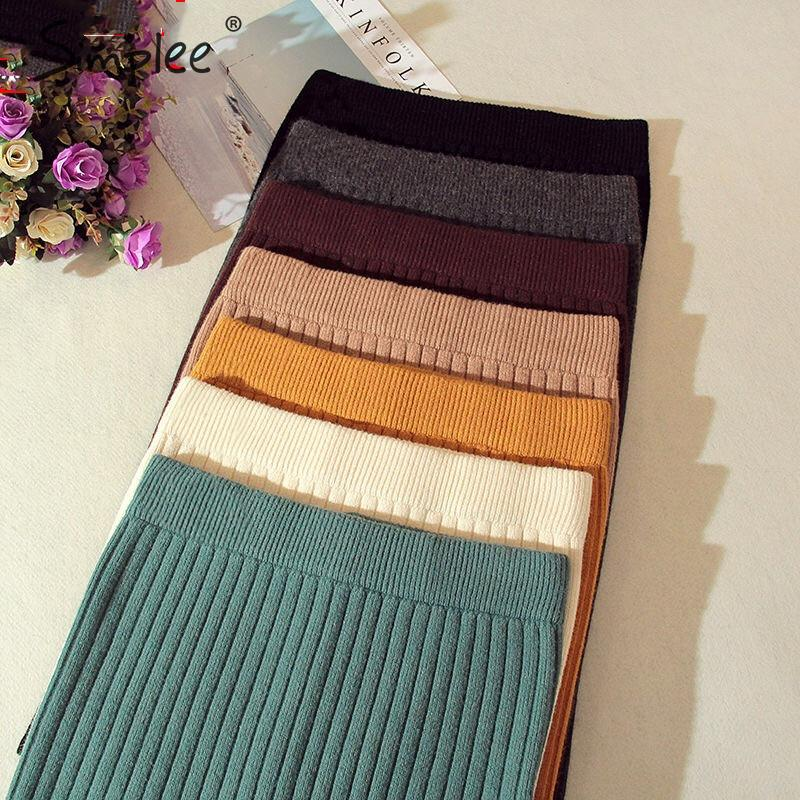 Simplee Elastic Band Women Skirts Autumn Winter Warm Knitted Straight Skirt Ribbed Solid Short Mini Ladies Party Wear Skirt 2019