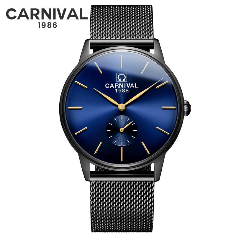 Carnival Ultra-thin 6MM Switzerland Quartz Watch Men Fashion Sports Watches Black Stainless Steel Mesh Belt Luxury Wrist Watches
