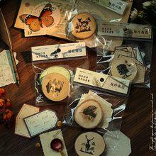 Vintage paisaje de bosque de sellos de goma madera Diy diario Scrapbook sellos con 30 hojas de papel de nota