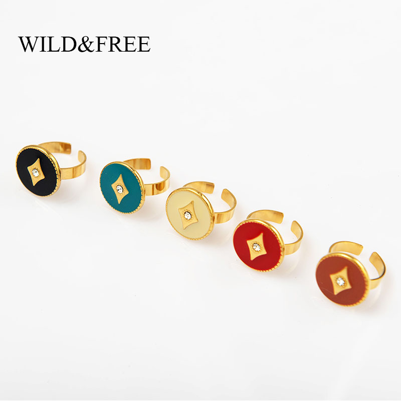 Wild & Free Simple Wide Gold Round Rings For Women Stainless Steel Colorful Enamel Black Open Finger Rings Vintage Jewelry 1