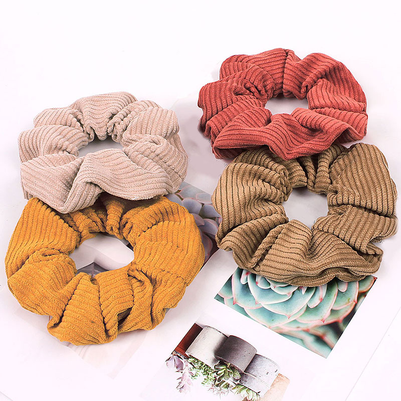2019 New Solid Color Corduroy Stripe Hair Scrunchie Elastic Hair Bands Korean Hair Accessories For Women Girls Ponytail Headwear