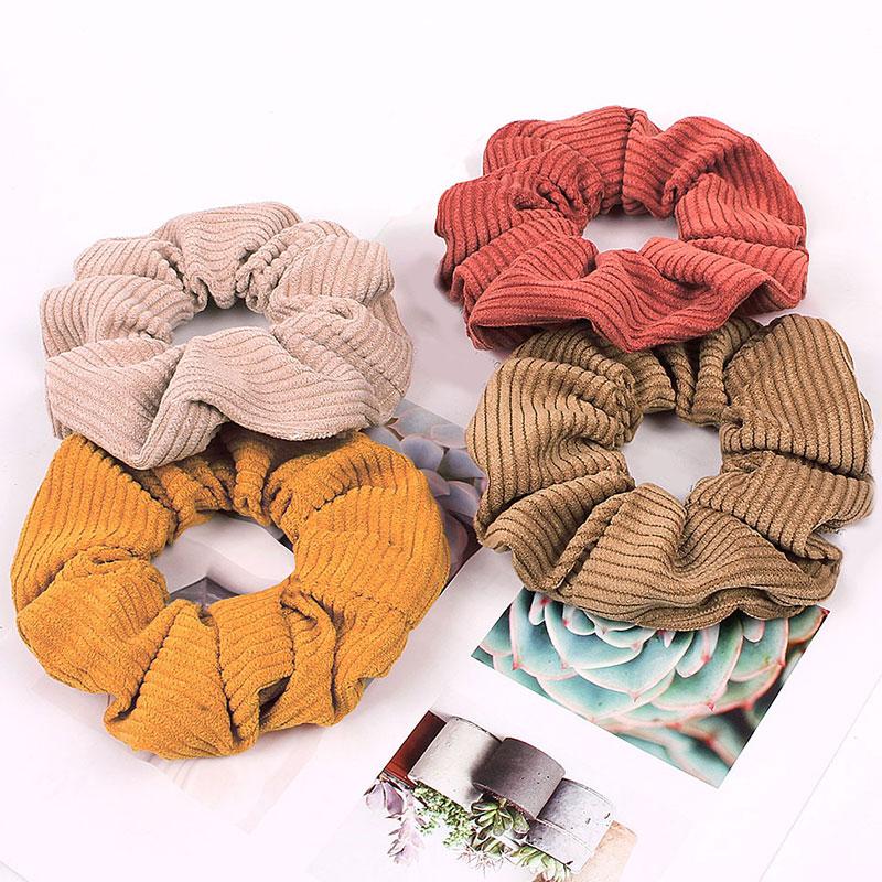 2020 neue Einfarbig Cord Streifen Haar Scrunchie Elastische Haar Bands Koreanische Haar Zubehör Für Frauen Mädchen Pferdeschwanz Headwear