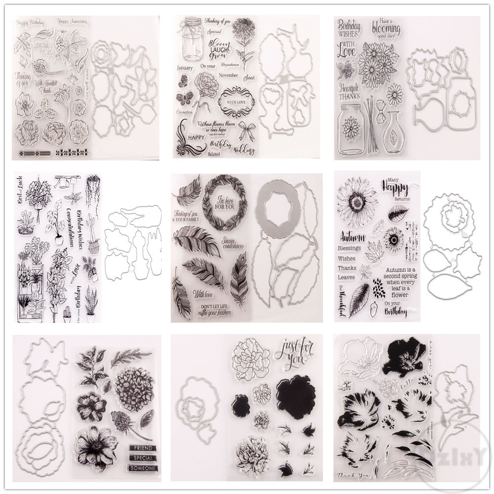 (29 estilos) 2020 flores selos claros e corte de metal dados diy scrapbooking álbum de papel artesanato selo cartões lâmina punch stencils