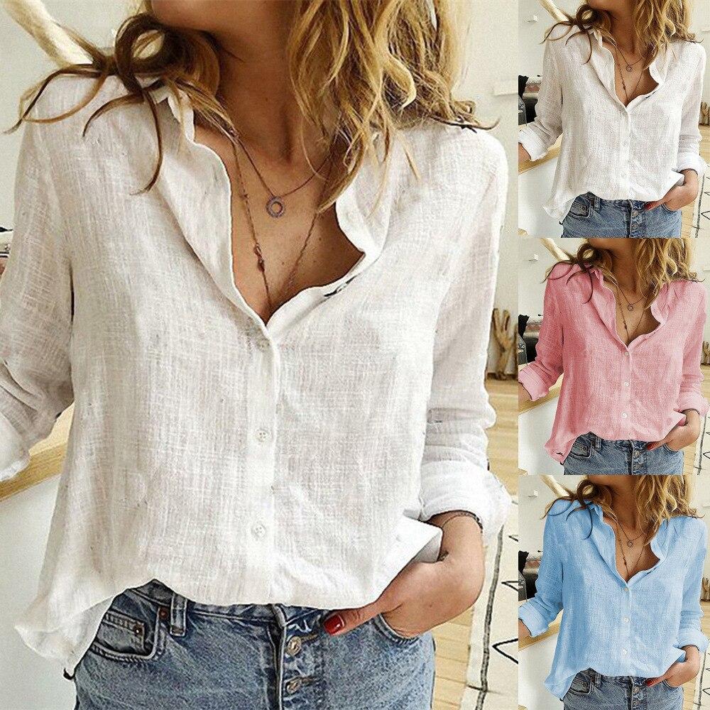 Womens Blouses Spring Autumn Tops Leisure White Shirts Button V Neck Cardigan Top Loose Long Sleeve Cotton Linen Shirt Blusas