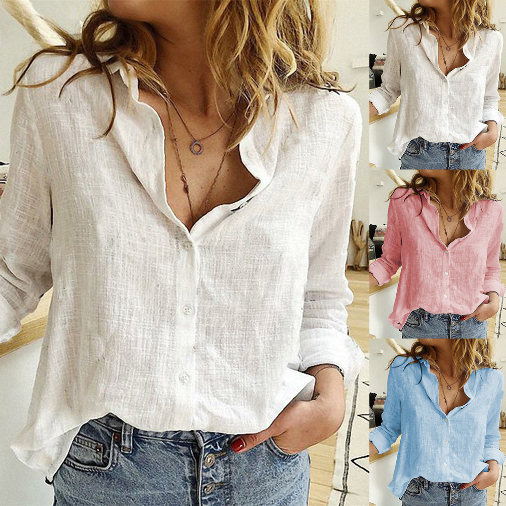 Womens Blouses Spring Autumn Tops Leisure White Shirts Button V Neck Cardigan Top Loose Long Sleeve Cotton Linen Shirt Blusas