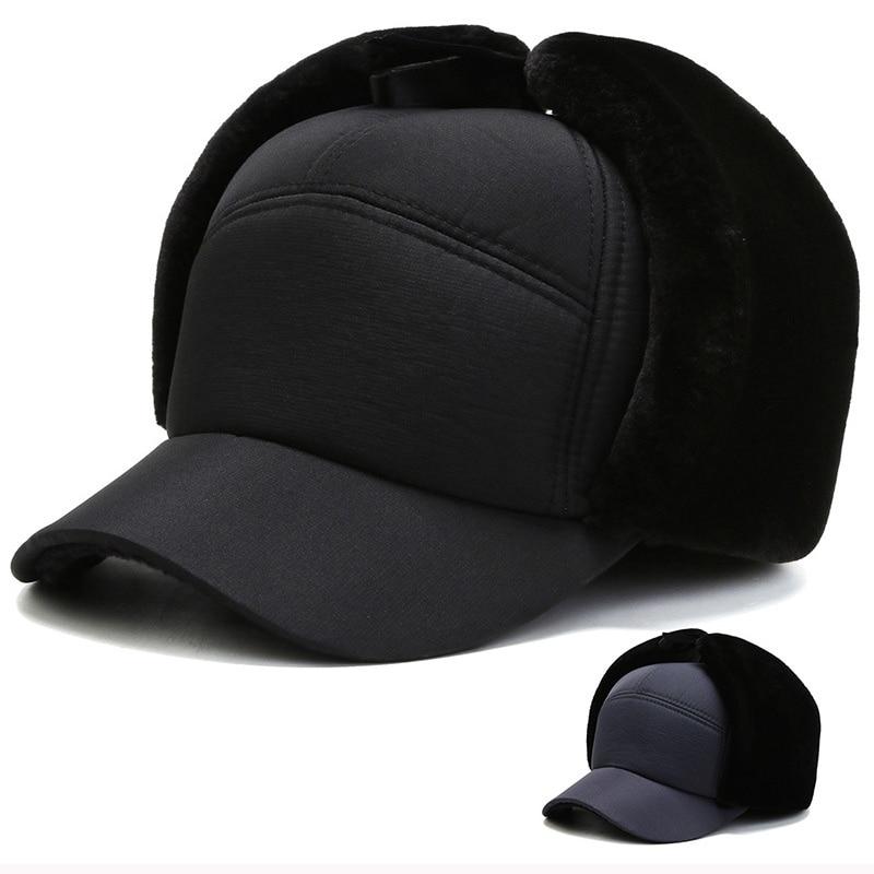 HT2800 Russian Cap Thick Warm Winter Hat Men Windproof Trapper Earflap Cap Male Bomber Hat Dad Hats with Ear Flap Baseball Cap