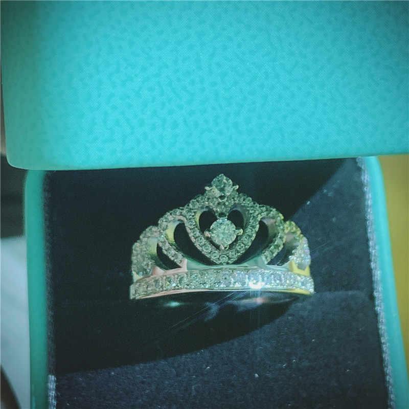Choucong statement coroa anel de gota de água aaaaa cz 925 prata esterlina festa de casamento anéis de banda para mulheres nupcial moda jóias