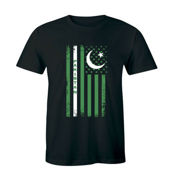 tshirt USA Flag with Pakistan Image Men T-Shirt