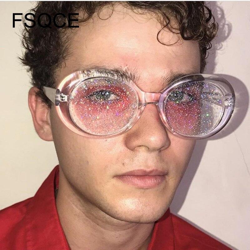 Sunglasses Women Oval Sun Glasses Glitter Lenses Eyewear Candy Colorful Classic Transparent Frame Sunglasses UV400 Retro Pink