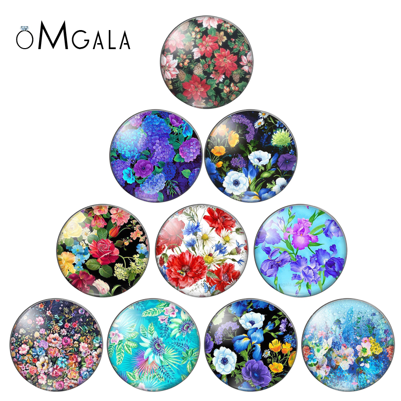 Rose Flowers Green Plant Oil Painting Photo12mm/14mm/16mm/18mm/20mm/25mm Round Glass Cabochon Demo Flat Back Making Findings