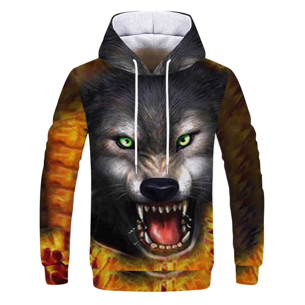 2019 Magic color Galaxy Wolf Hoodie Hoodies Men Women Fashion Spring Autumn Pullovers Sweatshirts Sweat Homme 3D Tracksuit