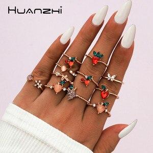 HUANZHI 2020 nowy 11 sztuk/zestaw minimalistyczny Trendy indywidualny kolor owoców wstawką z kryształu górskiego złota kolorowe pierścienie dla kobiet Party biżuteria